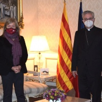 Mons. Vives rep la visita de la Consellera de Cultura en funcions al Palau Episcopal